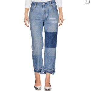 NWT Nili Lotan Franki Reworked Vintage Denim Raw Hem Boyfriend Patch Jeans
